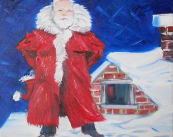 Arctic Santa Claus Original Oil Painting folk art Christmas