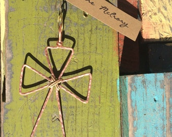 Cross Ornament hammered in copper, wire Cross outline Christmas Ornament