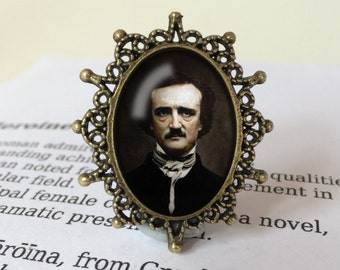 Edgar Allan Poe Brooch - Edgar Allan Poe Gift, Steampunk Brooch, Gothic Poetry Gift, The Raven Nevermore Brooch, Edgar Allan Poe Jewelry