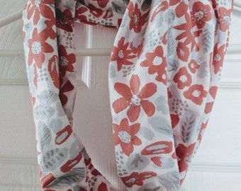 Gray and Coral Infinity Scarf / Cowl made from recycled pillowcase