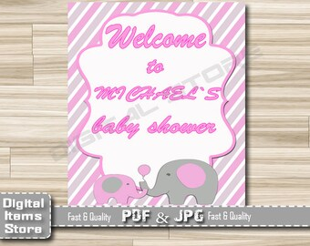 Elephant Welcome Sign Baby Shower - Welcome Baby Shower Sign Pink - Welcome Sign Elephant Pink - Welcome Shower Sign - ep11