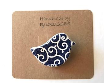 Blue ceramic bird brooch