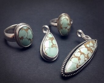Hubei Cloud Mountain Stabilized Turquoise - Matching Items - Rings Size 6 / 6.5