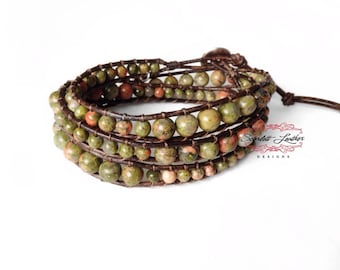 Unakite, gemstone bracelet, leather wrap bracelet, distressed brown leather triple wrap with 4&6mm unakite gemstones, finished with silver