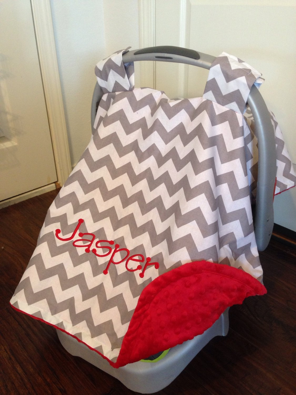 ?zoom & Personalized Car seat canopy boy or girl carseat cover