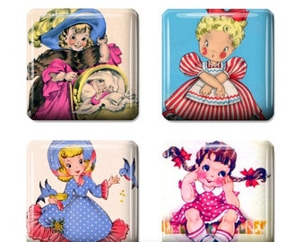 80% Off Spring Sale Vintage Little Girl 1x1 Digital Collage Sheet for Scrabble Tile Images Pendants Scrabble Jewelry Supplies Square Necklac