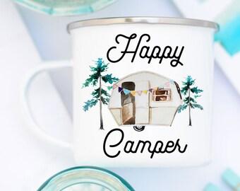 Happy Camper Mug, Enamel Camp Mug, Camping Mug, White Camp Mug, Happy Camper Camp Mug, Happy Camper Enamel Mug, Enamel Camping Mug, Camping