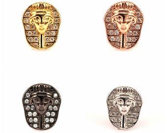 Pharaoh Egyptian beads Micro Pave Bead/CZ Bead /Clear Cubic Zirconia Sphinx beads,Men Bracelet Charms,Pave Beads, Bracelet Charms 2pcs