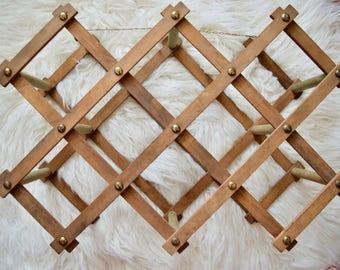 Vintage Wood Wine Rack || Retro Accordian Style Wine Rack