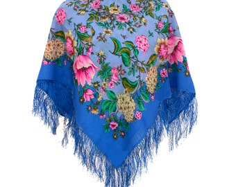 Festival Gypsy Blue Floral Boho Russian Shawl/Scarf with silk knitted long fringe