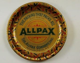 Vintage ALLPAX COMPANY Tip Tray, Ashtray, Tin Litho, Advertising, Collectible
