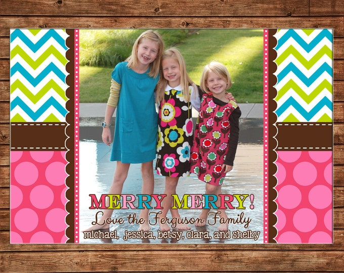Christmas Holiday Photo Card Chevron Polka Dot Colorful - Can Personalize - Printable File or Printed Cards