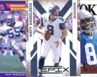 SEATTLE SEAHAWKS Football Team Lot - 200 Assorted Cards