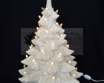 White Christmas Ceramic Christmas Tree w/ Music Box 19 in