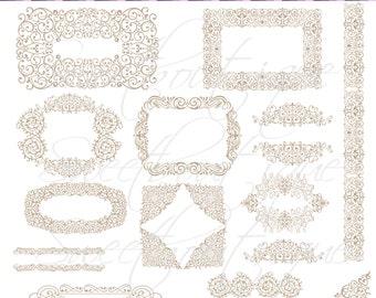 BEIGE Wedding Clipart DIY Digital Frames Calligraphy Clip Art  Engagement Wedding Invitation Victorian Design Clip Art 0653