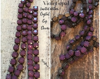MOM SALE New size 4.2mm rhinestone cup chain violet Opal rustic patina  18ss 4.2