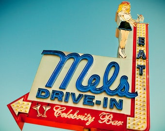 Mels Drive|In Vintage Neon Sign | Hollywood | Retro Kitchen Decor | American Graffiti Inspired | Gift for Dad | Fine Art Photography