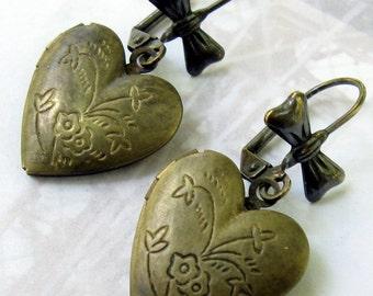 Heart Locket Earrings, Heart Earrings, Locket Earrings, Gift for Her Jewelry