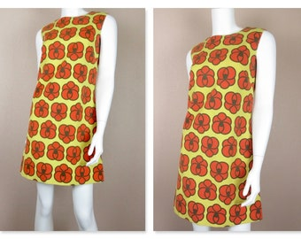 Vintage 1960s Mini Dress / Cotton / Yellow, Orange Flowers / Mod Graphics / Scooter, A Line, Tent, Sleeveless, Summer Casual / Sz S