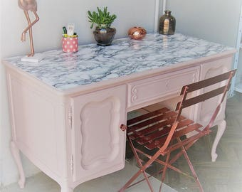 trendy office nude pink, marble and copper
