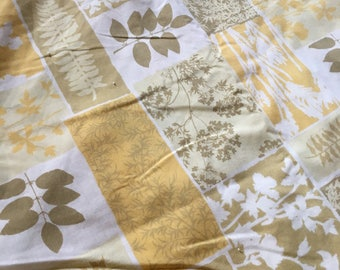 KING size sheet set mid century gold and olive green leaves fitted and flat sears