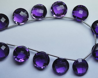 5 Match Pair --AAA--PURPLE AMETHYST Quartz Faceted Coins Briolettes 12mm Size Calibrated Size