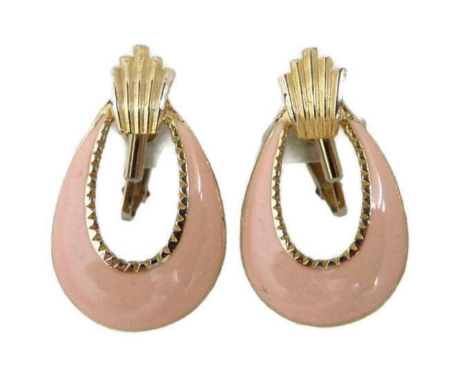 Pink Hoop Earrings - Vintage Coral Pink Oval Hoop Gold Tone Clip-on Earrings