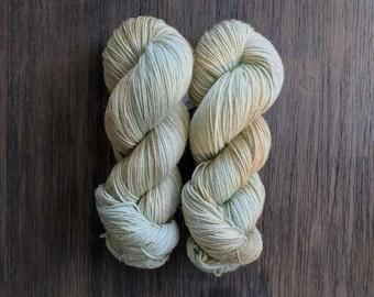 Hand Dyed Yarn - 'Dreamland' - Stardust Fingering - Gold Stellina - turquoise beige - 420 yards