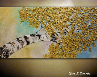 Birch Tree PAINTING, Original Aspen Tree Painting, Golden leaves Painting, Horizontal or Vertical Artwork, Large Modern Wall Art by Nata S.