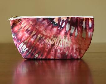 Tie Dye Clutch, Zipper Pouch, Accessory Bag, Pink Bag, Cosmetics Bag