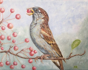 "Sparrow, Acrylic Painting,  7.1""x 9.4""x 0.6""on a stretched canvas"