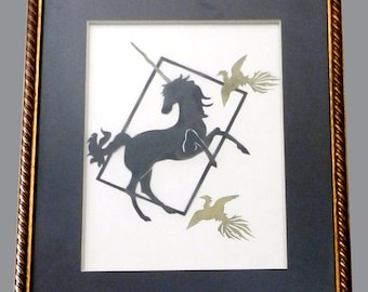 Framed unicorn paper cutting with birds - REDUCED PRICE!