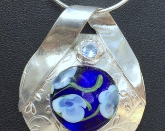 Silver & Blue Floral Glass Lampwork Bead Pendant