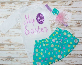 Easter Egg Glitter My First Easter Girl Outfit- Easter Pictures-Easter Prop- Bunny