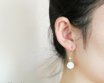 OE-P04 I Promise to Be Your Best Friend Forever - Handmade 14K Gold Filled Dangle Earring with freshwater pearl and mother of pearl in shell