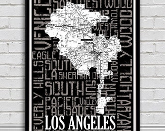 Los Angeles Typography City Map Print-Los Angeles  neighborhoods featured  in typography with map inside silhouette of LA.