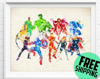 Avengers, Iron Man, Captain America, Hulk, Thor, Black Widow, Superhero, Poster, Watercolor Painting, Wall Art Print, Kids Decor, Gift, 120