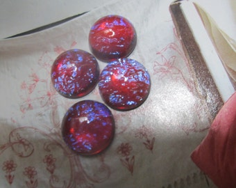 Dragons Breath Or Mexican Opal Glass Cabs 15mm 2Pc.