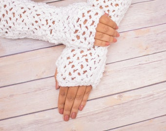 White Fingerless Gloves