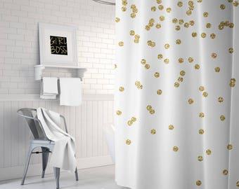 Gold Shower Curtain, Girls Bathroom Decor, Gold Confetti Bath Curtain, Fabric Shower Curtain, Teen Shower Curtain, Girls Shower Curtain