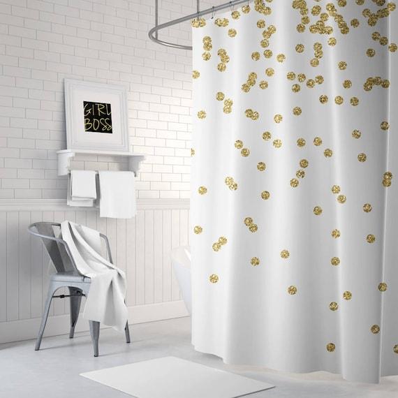 Gold Shower Curtain Girls Bathroom Decor Gold Confetti Bath