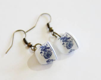 Blue Patterned Mug Earrings on Bronze Hooks