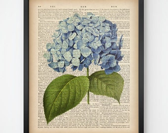 Botanical print, Hydrangea print, Dictionary art print, Instant download printable art, Antique botanical print, 8x10 print, 11x14 print