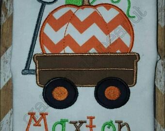 Personalized pumpkin in wagon boys halloween fall shirt, custom applique pumpkin in wagon shirt