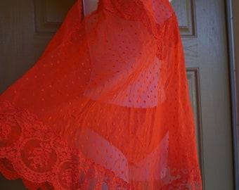 Vintage 1960s red babydoll nightgown slip small medium