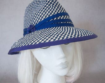 Navy Straw Sun Hat. Women's Fedora. Fresh Summer Hat. Toyo Paper Straw. Ladies Wide Brim Hat Under 100. Beach Hat. Airy Blue & White Fedora.