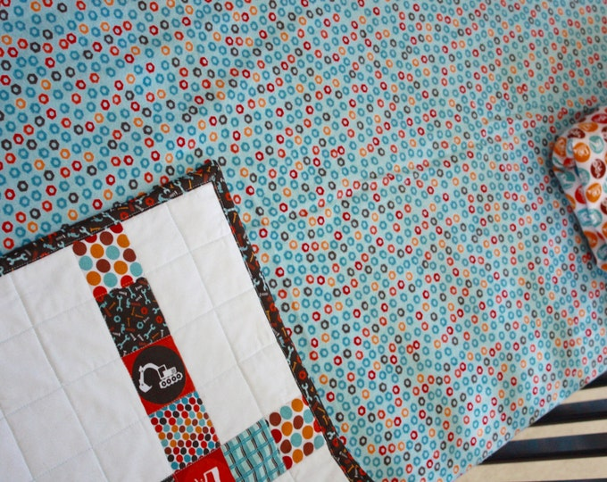 Construction Baby Bedding/Builder's Baby Flannel Crib Sheet