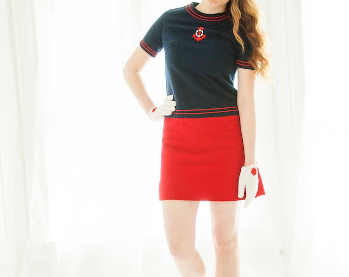 Vintage nautical mini dress, anchor red blue wool sailor, short sleeves, drop waist, 1970s XS S petite