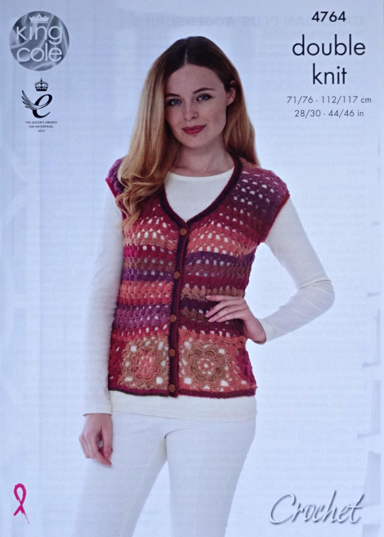 Womens Crochet Pattern C4764 Ladies Granny Square Sleeveless ...