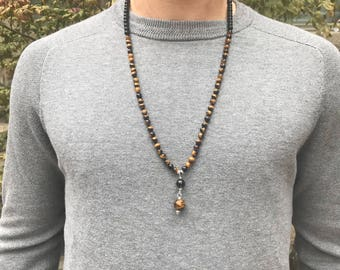 Men's Tiger Eye and Black Obsidian 108 Mala Necklace /Men's Mala Beads /Mens Yoga jewelry/Meditation Gifts /Knotted Japa Mala / Mens Gifts